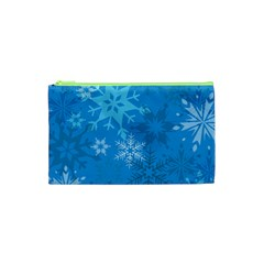 Snowflakes Cool Blue Star Cosmetic Bag (xs) by Mariart