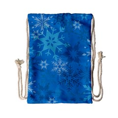 Snowflakes Cool Blue Star Drawstring Bag (small) by Mariart