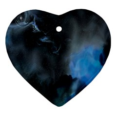Space Star Blue Sky Heart Ornament (two Sides) by Mariart