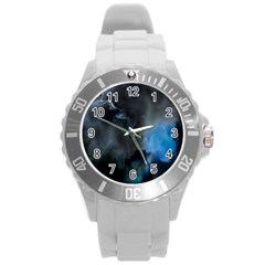 Space Star Blue Sky Round Plastic Sport Watch (l) by Mariart