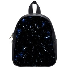 Space Warp Speed Hyperspace Through Starfield Nebula Space Star Line Light Hole School Bag (small) by Mariart