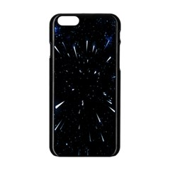 Space Warp Speed Hyperspace Through Starfield Nebula Space Star Line Light Hole Apple Iphone 6/6s Black Enamel Case by Mariart