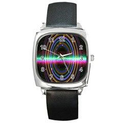 Spectrum Space Line Rainbow Hole Square Metal Watch by Mariart