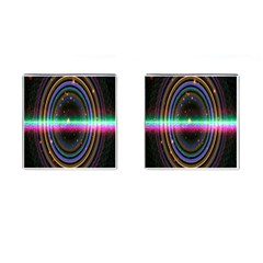 Spectrum Space Line Rainbow Hole Cufflinks (square) by Mariart