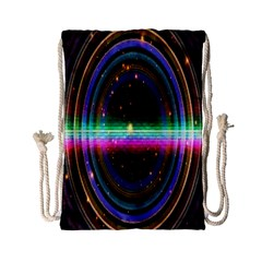 Spectrum Space Line Rainbow Hole Drawstring Bag (small) by Mariart