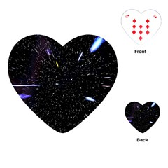 Space Warp Speed Hyperspace Through Starfield Nebula Space Star Hole Galaxy Playing Cards (heart)  by Mariart