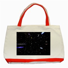Space Warp Speed Hyperspace Through Starfield Nebula Space Star Hole Galaxy Classic Tote Bag (red) by Mariart