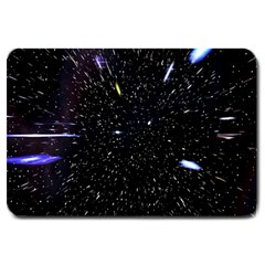 Space Warp Speed Hyperspace Through Starfield Nebula Space Star Hole Galaxy Large Doormat  by Mariart