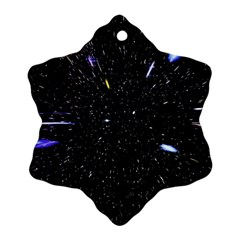 Space Warp Speed Hyperspace Through Starfield Nebula Space Star Hole Galaxy Ornament (snowflake) by Mariart