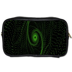 Space Green Hypnotizing Tunnel Animation Hole Polka Green Toiletries Bags 2-side by Mariart