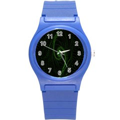 Space Green Hypnotizing Tunnel Animation Hole Polka Green Round Plastic Sport Watch (s) by Mariart