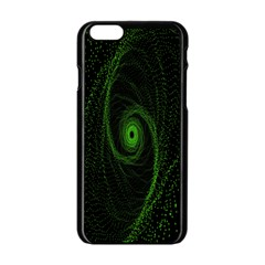 Space Green Hypnotizing Tunnel Animation Hole Polka Green Apple Iphone 6/6s Black Enamel Case by Mariart