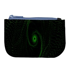 Space Green Hypnotizing Tunnel Animation Hole Polka Green Large Coin Purse by Mariart
