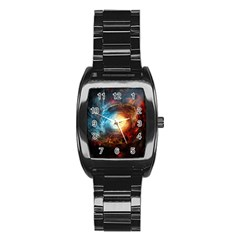 Supermassive Black Hole Galaxy Is Hidden Behind Worldwide Network Stainless Steel Barrel Watch by Mariart
