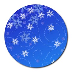 Winter Blue Snowflakes Rain Cool Round Mousepads