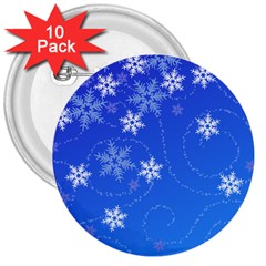 Winter Blue Snowflakes Rain Cool 3  Buttons (10 Pack)  by Mariart