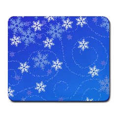 Winter Blue Snowflakes Rain Cool Large Mousepads by Mariart