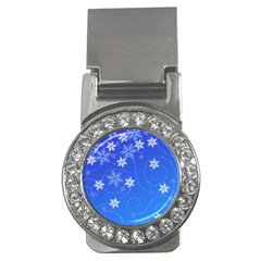 Winter Blue Snowflakes Rain Cool Money Clips (cz)  by Mariart