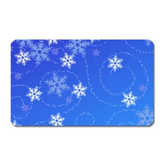 Winter Blue Snowflakes Rain Cool Magnet (rectangular) by Mariart