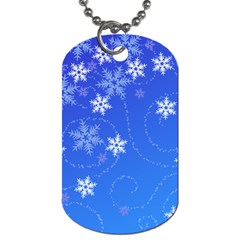 Winter Blue Snowflakes Rain Cool Dog Tag (one Side) by Mariart