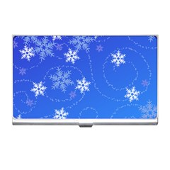 Winter Blue Snowflakes Rain Cool Business Card Holders by Mariart