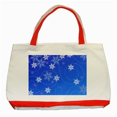 Winter Blue Snowflakes Rain Cool Classic Tote Bag (red) by Mariart