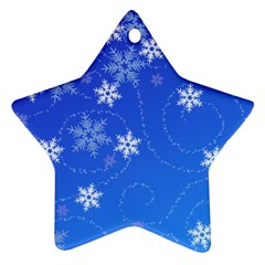 Winter Blue Snowflakes Rain Cool Star Ornament (two Sides) by Mariart