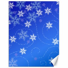 Winter Blue Snowflakes Rain Cool Canvas 18  X 24   by Mariart