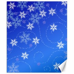 Winter Blue Snowflakes Rain Cool Canvas 20  X 24   by Mariart
