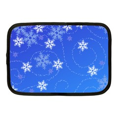 Winter Blue Snowflakes Rain Cool Netbook Case (medium)  by Mariart