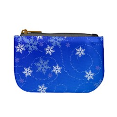 Winter Blue Snowflakes Rain Cool Mini Coin Purses