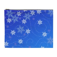 Winter Blue Snowflakes Rain Cool Cosmetic Bag (xl)