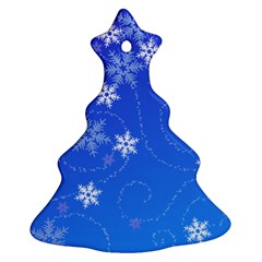 Winter Blue Snowflakes Rain Cool Ornament (christmas Tree)  by Mariart