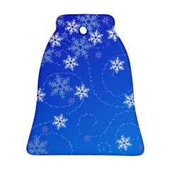 Winter Blue Snowflakes Rain Cool Ornament (bell) by Mariart