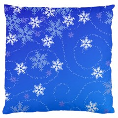Winter Blue Snowflakes Rain Cool Large Cushion Case (one Side) by Mariart