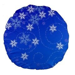 Winter Blue Snowflakes Rain Cool Large 18  Premium Round Cushions by Mariart