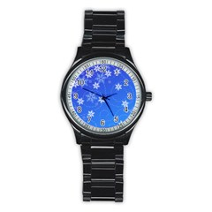 Winter Blue Snowflakes Rain Cool Stainless Steel Round Watch by Mariart