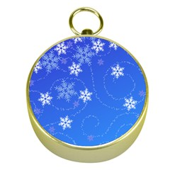 Winter Blue Snowflakes Rain Cool Gold Compasses by Mariart