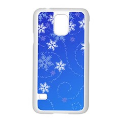 Winter Blue Snowflakes Rain Cool Samsung Galaxy S5 Case (white) by Mariart