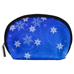 Winter Blue Snowflakes Rain Cool Accessory Pouches (large)  by Mariart