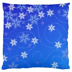 Winter Blue Snowflakes Rain Cool Standard Flano Cushion Case (one Side) by Mariart