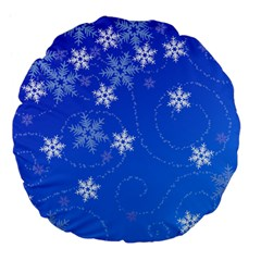 Winter Blue Snowflakes Rain Cool Large 18  Premium Flano Round Cushions by Mariart
