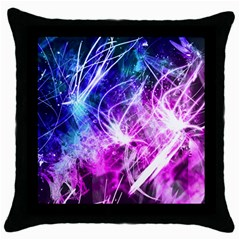 Space Galaxy Purple Blue Throw Pillow Case (black) by Mariart
