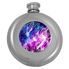 Space Galaxy Purple Blue Round Hip Flask (5 Oz) by Mariart