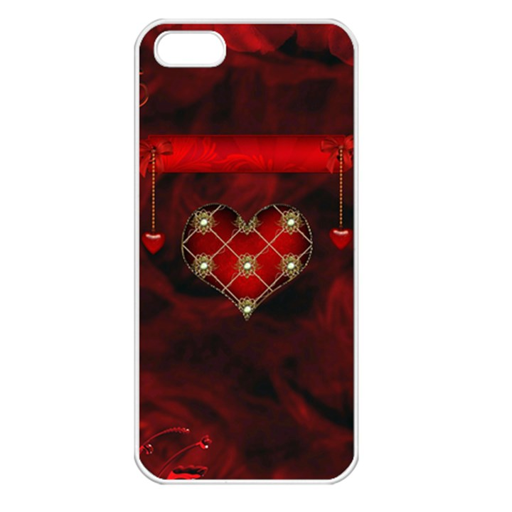 Wonderful Elegant Decoative Heart With Flowers On The Background Apple iPhone 5 Seamless Case (White)