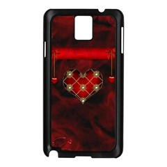 Wonderful Elegant Decoative Heart With Flowers On The Background Samsung Galaxy Note 3 N9005 Case (black) by FantasyWorld7