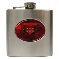 Wonderful Elegant Decoative Heart With Flowers On The Background Hip Flask (6 Oz) by FantasyWorld7