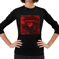 Wonderful Elegant Decoative Heart With Flowers On The Background Women s Long Sleeve Dark T Shirts by FantasyWorld7