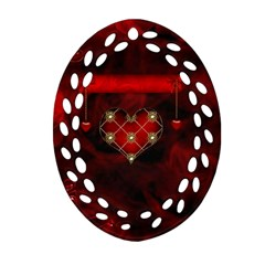 Wonderful Elegant Decoative Heart With Flowers On The Background Oval Filigree Ornament (two Sides) by FantasyWorld7