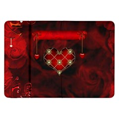 Wonderful Elegant Decoative Heart With Flowers On The Background Samsung Galaxy Tab 8 9  P7300 Flip Case by FantasyWorld7